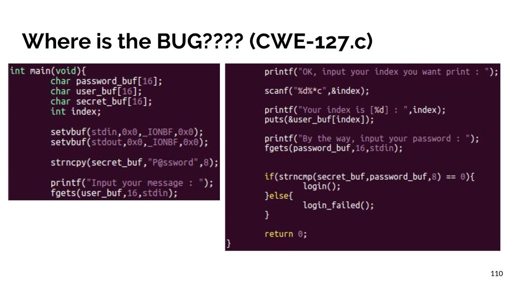 Where is the BUG???? (CWE-127.c) 110
