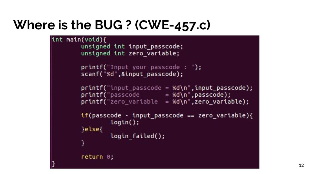 Where is the BUG ? (CWE-457.c) 12