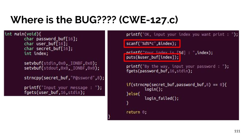 Where is the BUG???? (CWE-127.c) 111