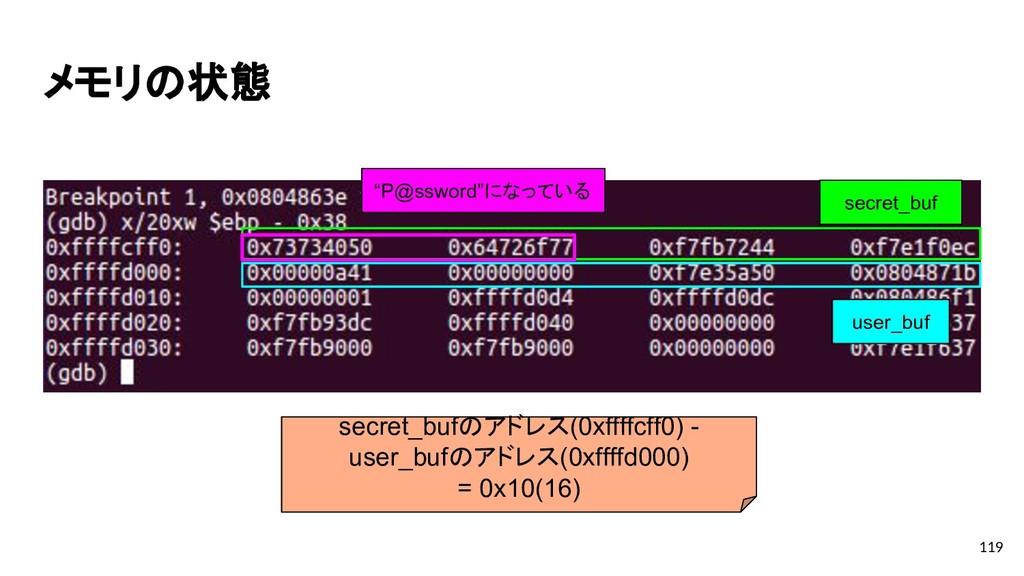"""メモリの状態 119 secret_buf """"P@ssword""""になっている user_buf..."""