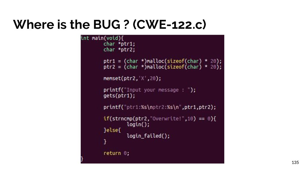Where is the BUG ? (CWE-122.c) 135