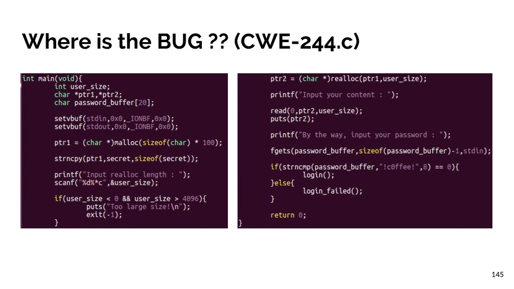 Where is the BUG ?? (CWE-244.c) 145