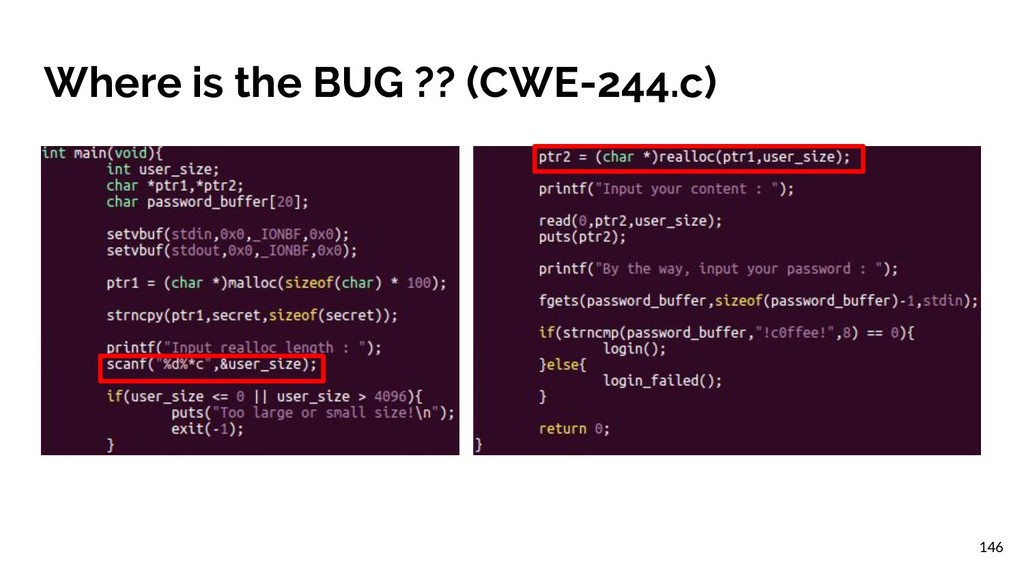 Where is the BUG ?? (CWE-244.c) 146