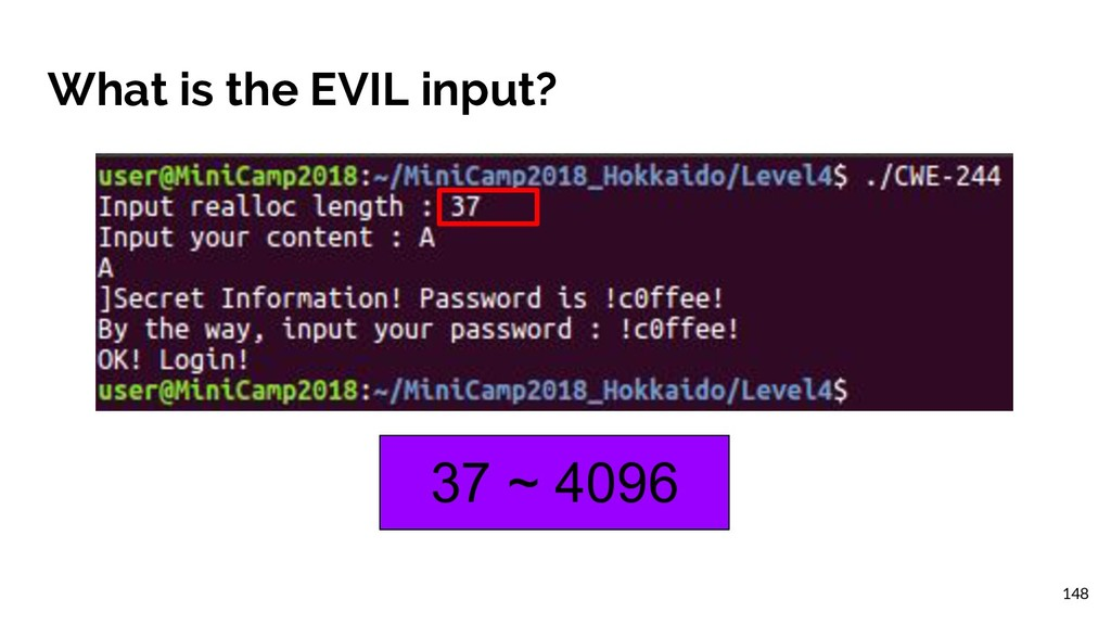 What is the EVIL input? 37 ~ 4096 148