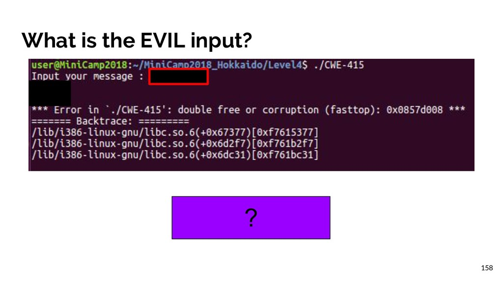 What is the EVIL input? ? 158
