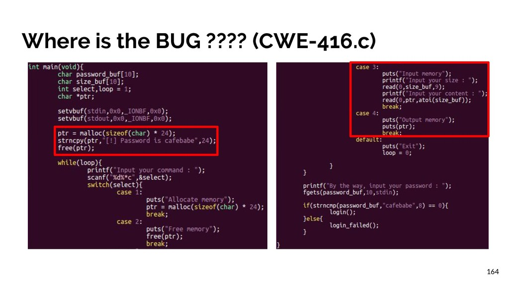 Where is the BUG ???? (CWE-416.c) 164