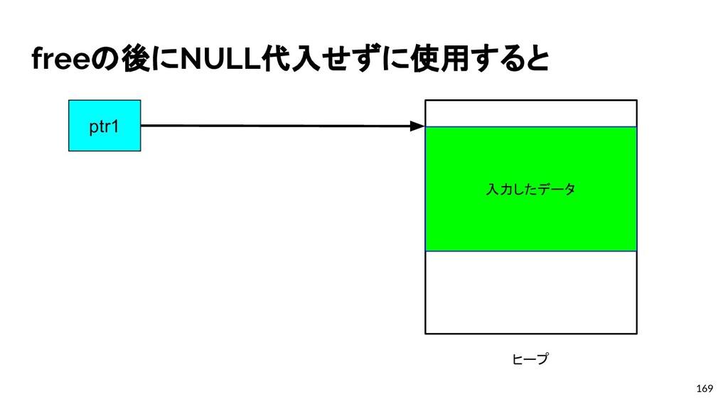 freeの後にNULL代入せずに使用すると 169 ptr1が指し示す mallocで割り当て...