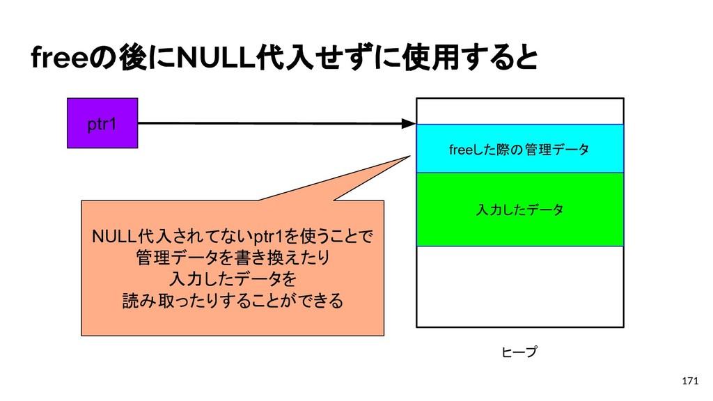 freeの後にNULL代入せずに使用すると 171 freeした際の管理データ ヒープ ptr...