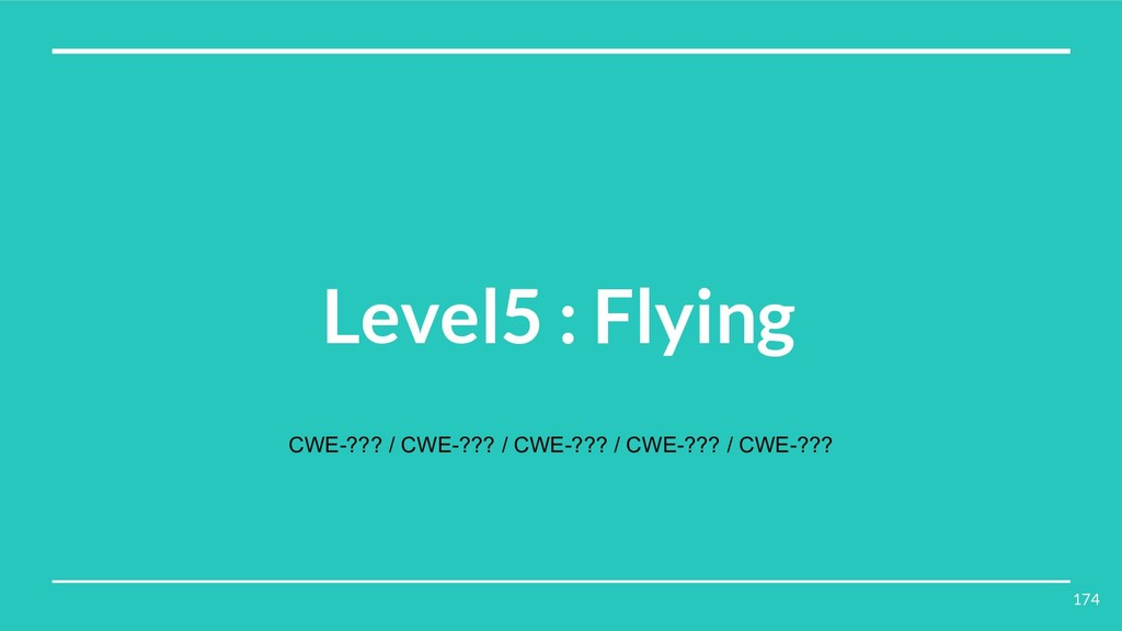 Level5 : Flying CWE-??? / CWE-??? / CWE-??? / C...