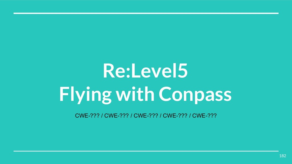 Re:Level5 Flying with Conpass CWE-??? / CWE-???...