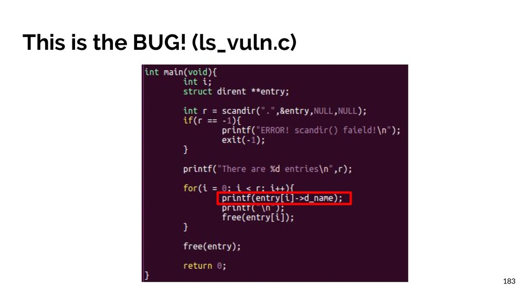 This is the BUG! (ls_vuln.c) 183