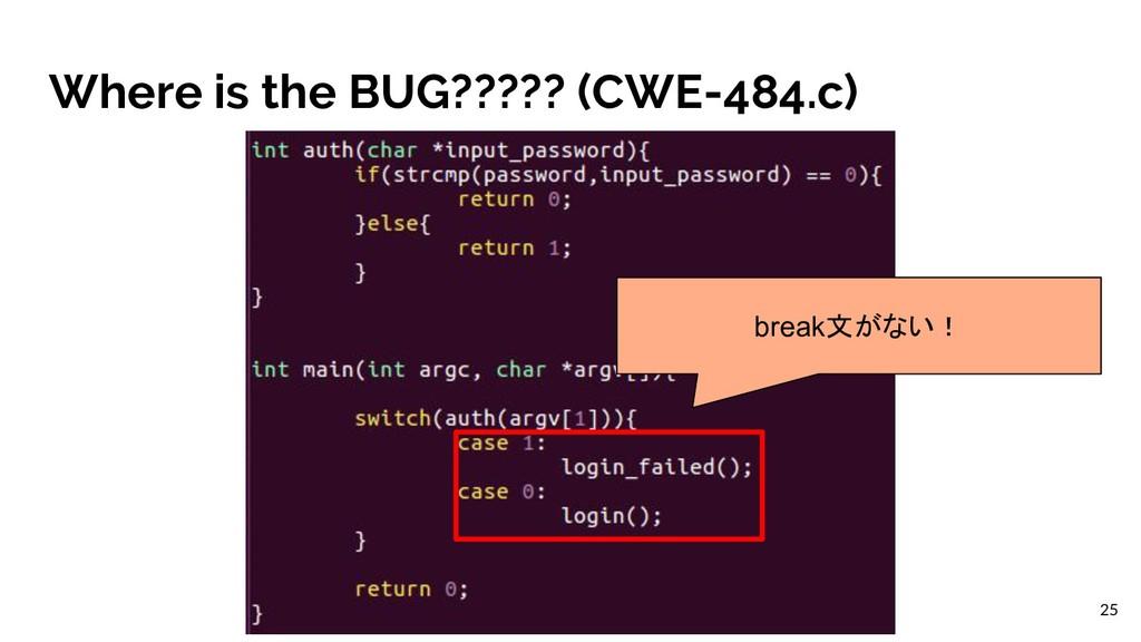 Where is the BUG????? (CWE-484.c) break文がない! 25