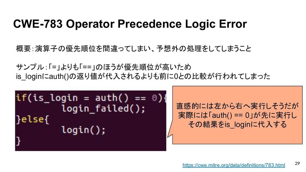 CWE-783 Operator Precedence Logic Error 概要:演算子の...
