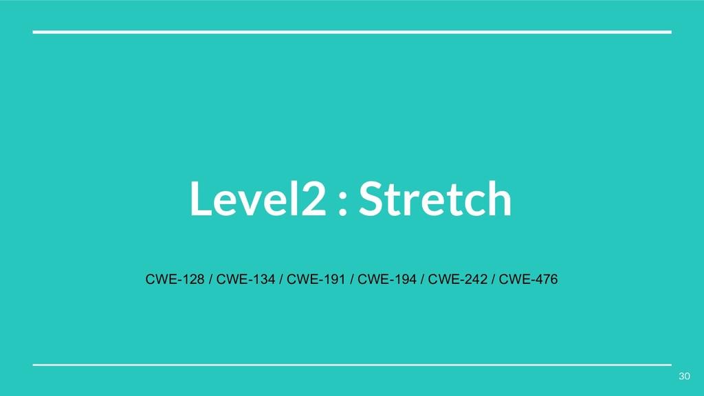 Level2 : Stretch CWE-128 / CWE-134 / CWE-191 / ...