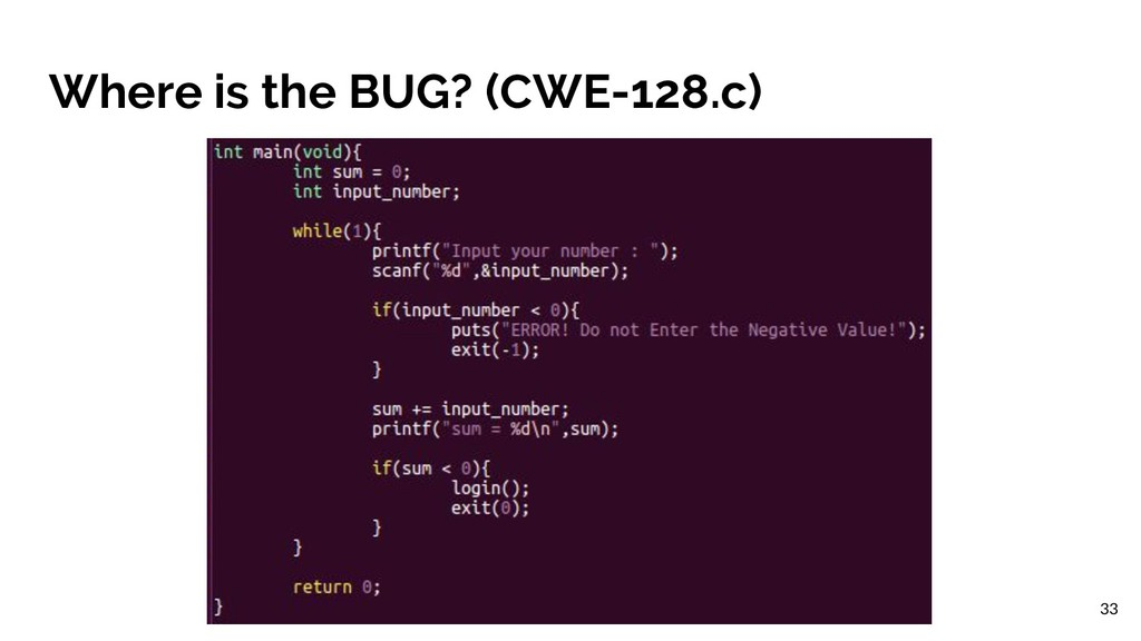 Where is the BUG? (CWE-128.c) 33