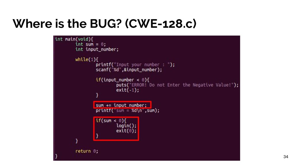 Where is the BUG? (CWE-128.c) 34