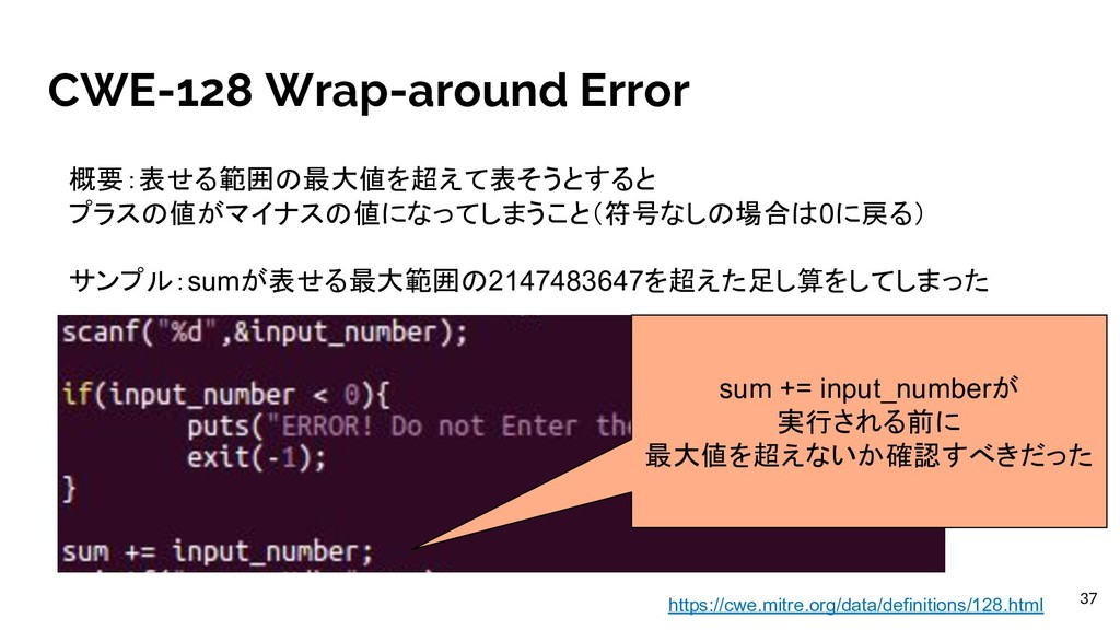 CWE-128 Wrap-around Error 概要:表せる範囲の最大値を超えて表そうとす...