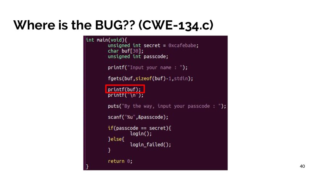 Where is the BUG?? (CWE-134.c) 40