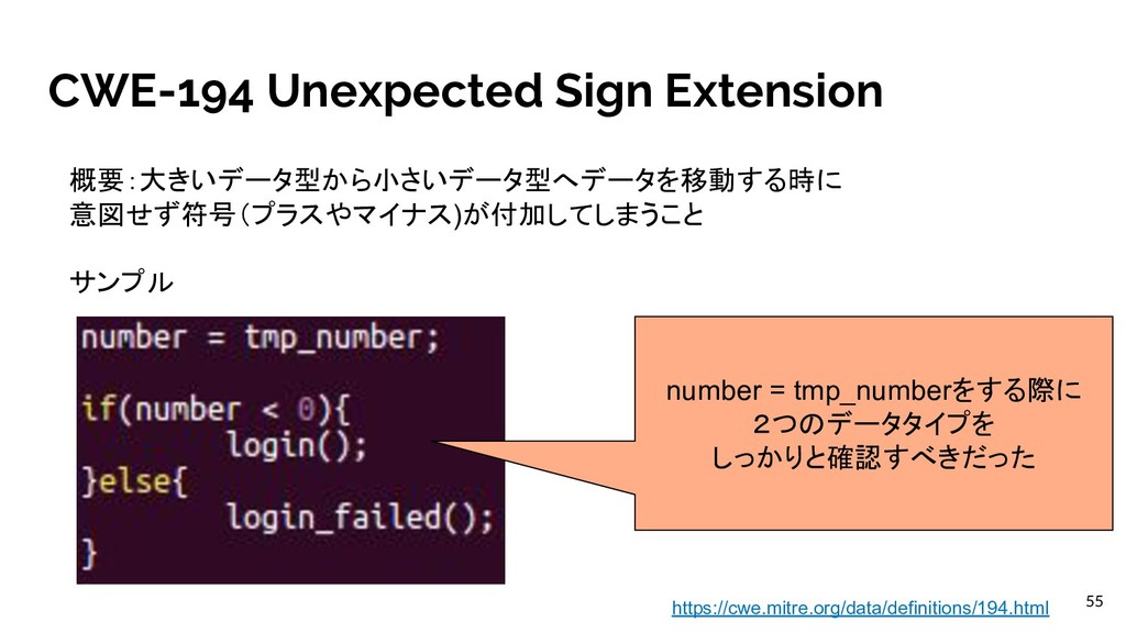 CWE-194 Unexpected Sign Extension 概要:大きいデータ型から小...