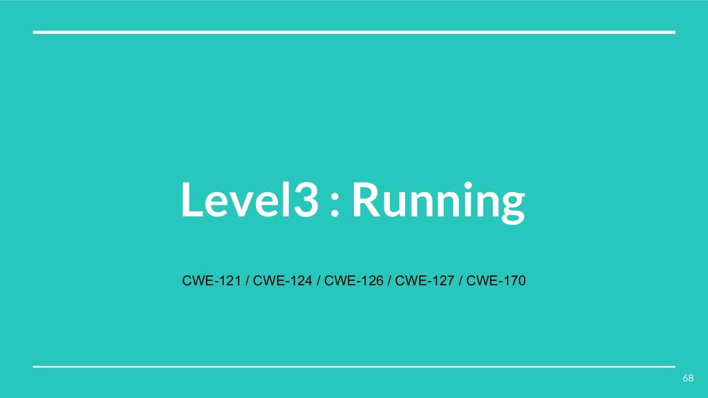 Level3 : Running CWE-121 / CWE-124 / CWE-126 / ...