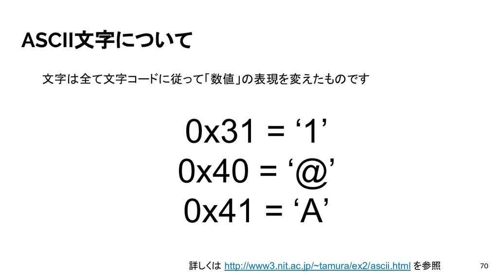 ASCII文字について 70 文字は全て文字コードに従って「数値」の表現を変えたものです 詳し...