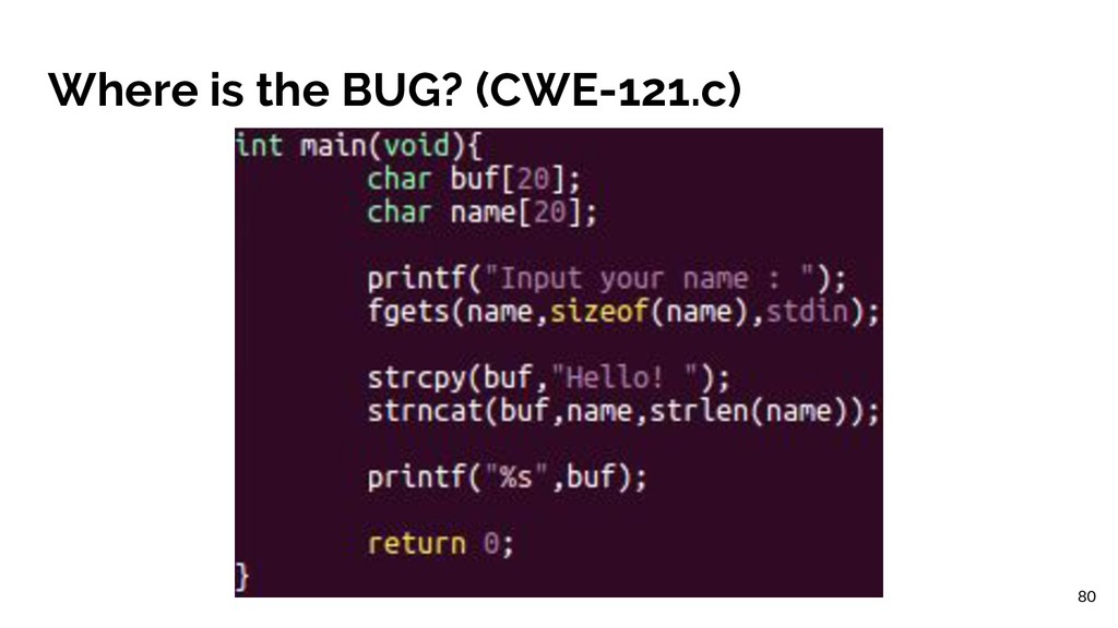 Where is the BUG? (CWE-121.c) 80