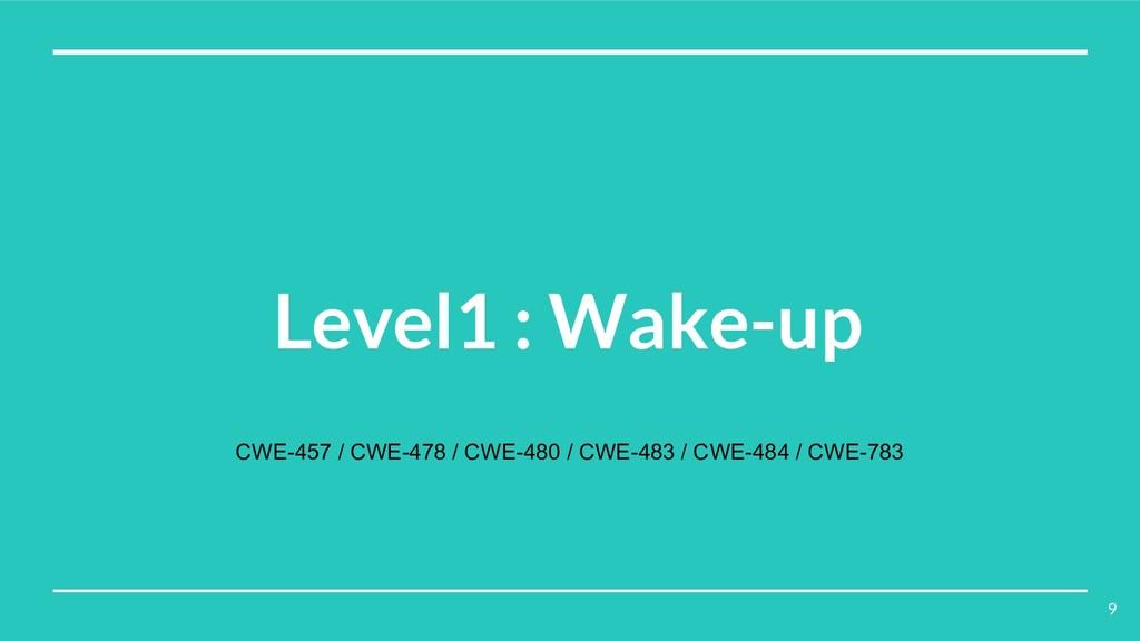 Level1 : Wake-up CWE-457 / CWE-478 / CWE-480 / ...
