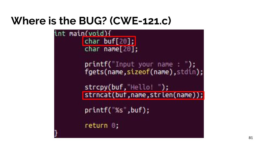 Where is the BUG? (CWE-121.c) 81