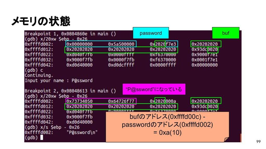 """メモリの状態 99 buf """"P@ssword""""になっている password bufのアドレ..."""