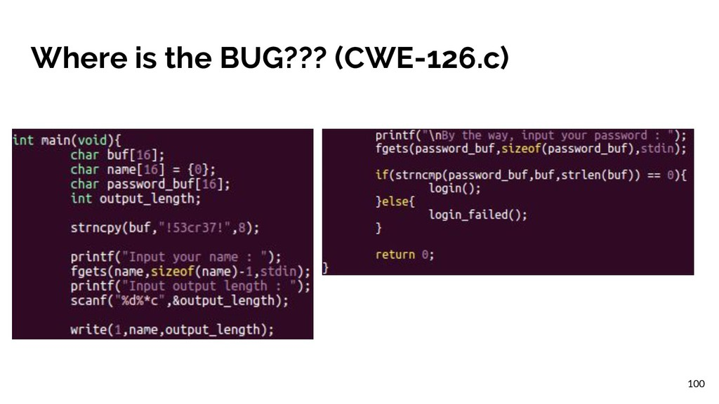 Where is the BUG??? (CWE-126.c) 100