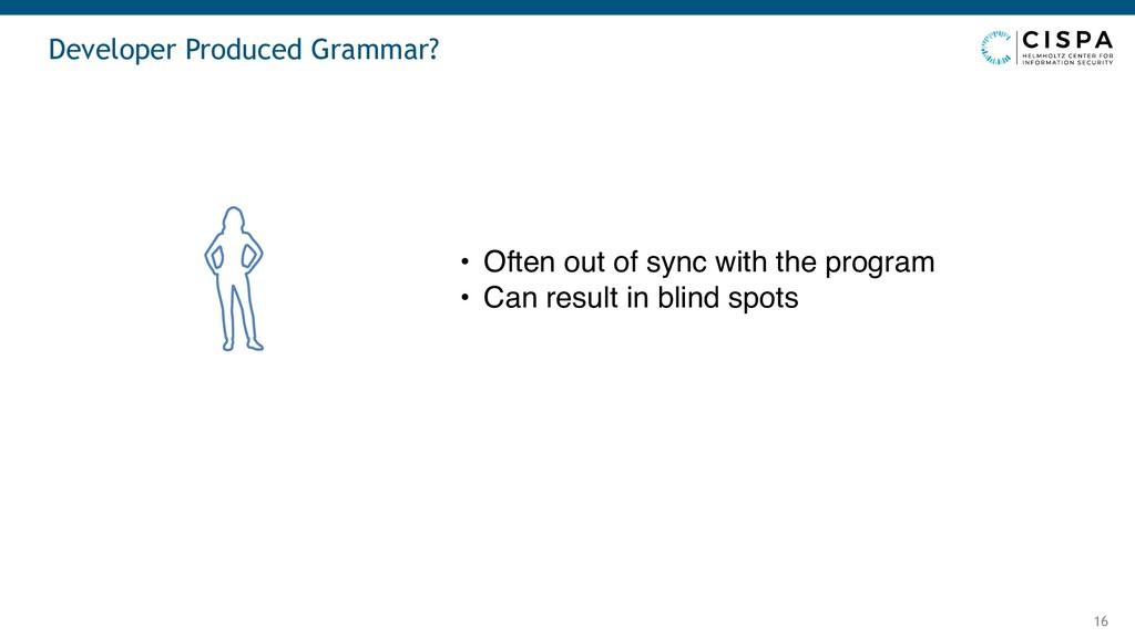 Developer Produced Grammar? 16 • Often out of s...