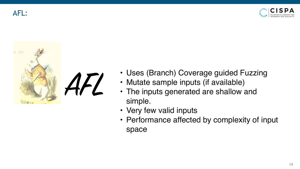AFL: 19 AFL • Uses (Branch) Coverage guided Fuz...