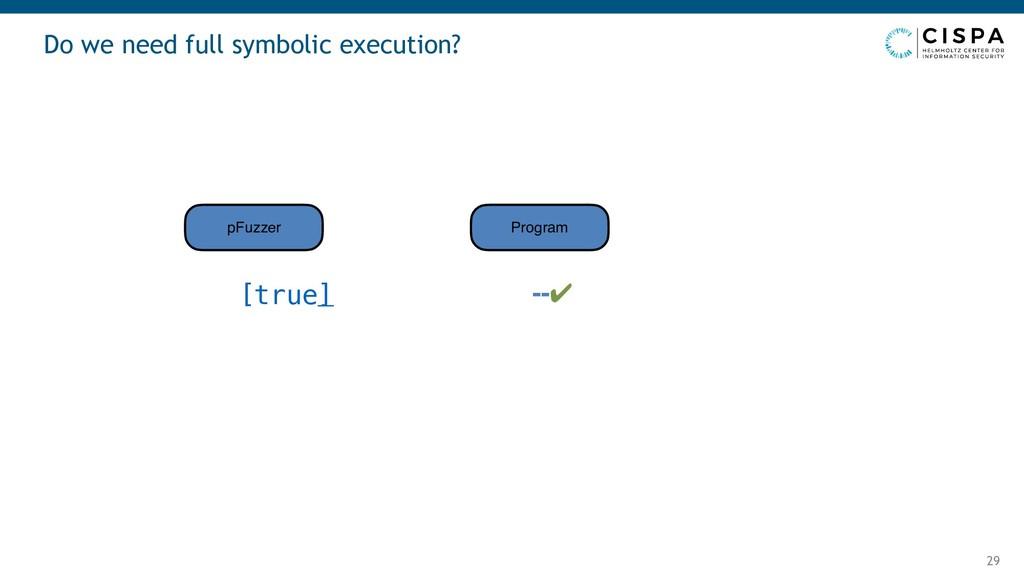 Do we need full symbolic execution? 29 --✔ pFuz...