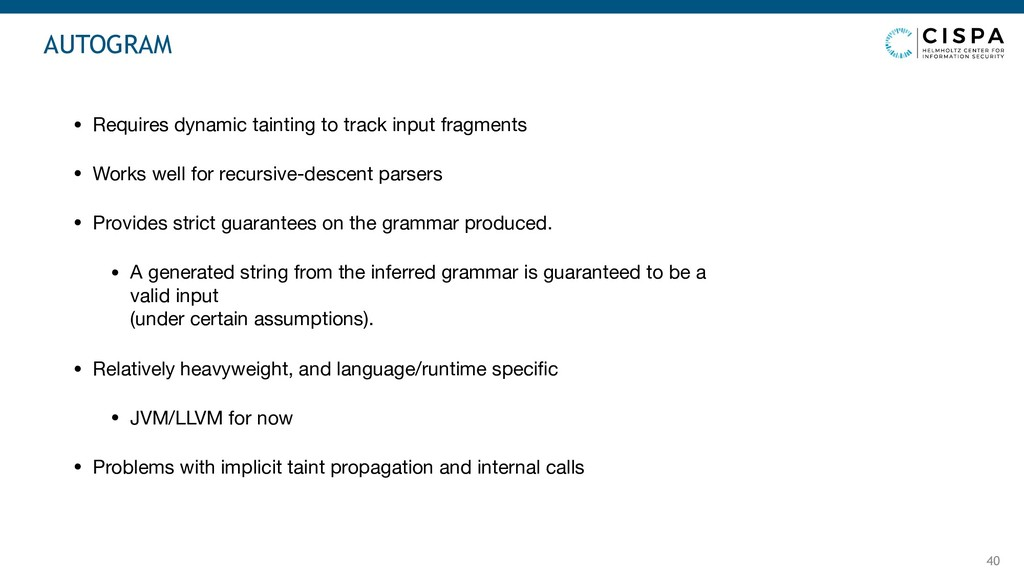 40 • Requires dynamic tainting to track input f...
