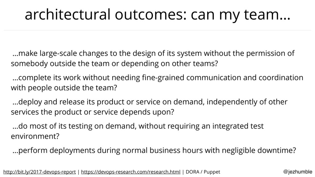 @jezhumble architectural outcomes: can my team…...