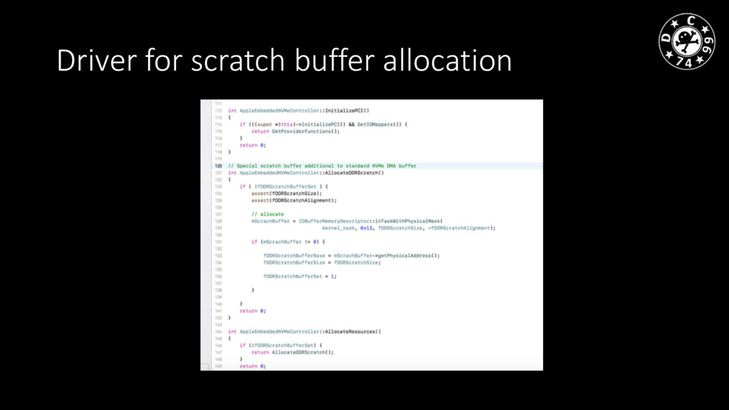 Driver for scratch buffer allocation