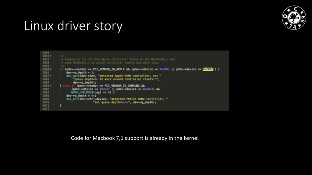 Linux driver story Code for Macbook 7,1 support...