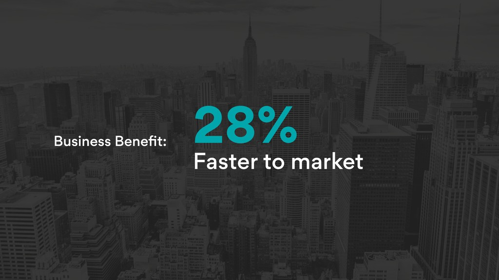 Business Benefit: 28% Faster to market