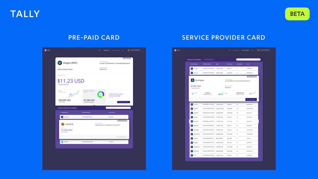 TALLY BETA PRE-PAID CARD SERVICE PROVIDER CARD