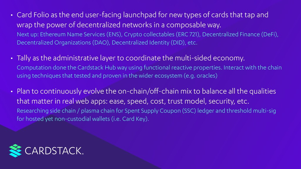 CARDSTACK • Card Folio as the end user-facing l...