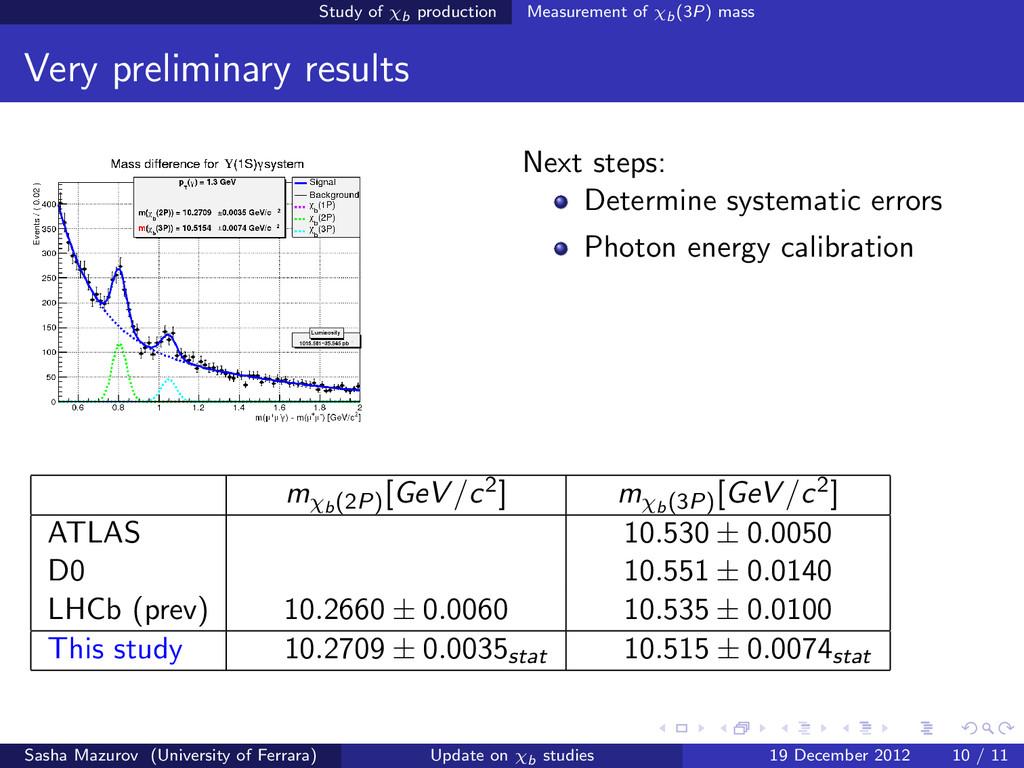 Study of χb production Measurement of χb(3P) ma...
