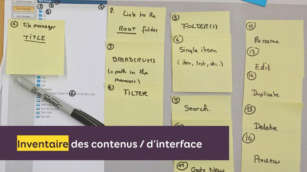 Inventaire des contenus / d'interface