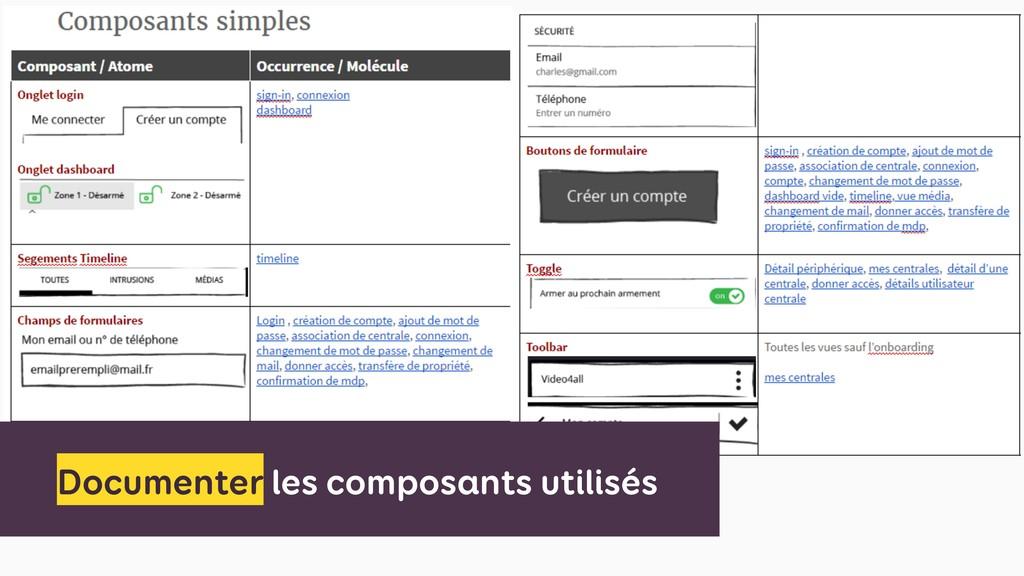 Documenter les composants utilisés