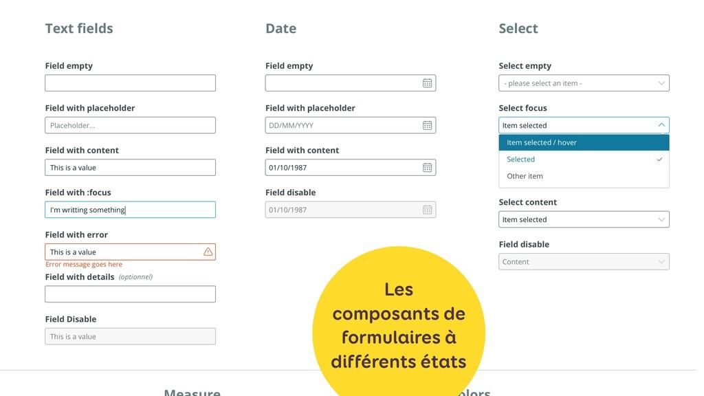 Les composants de formulaires à différents états