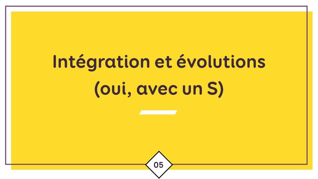 Intégration et évolutions (oui, avec un S) 05