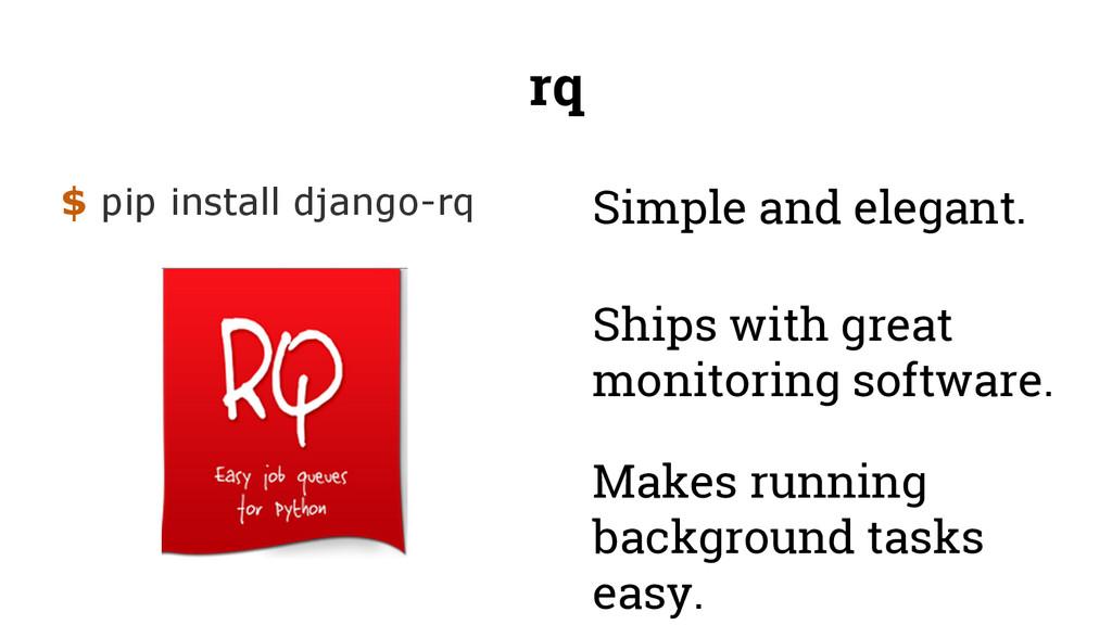 rq $ pip install django-rq Ships with great mon...