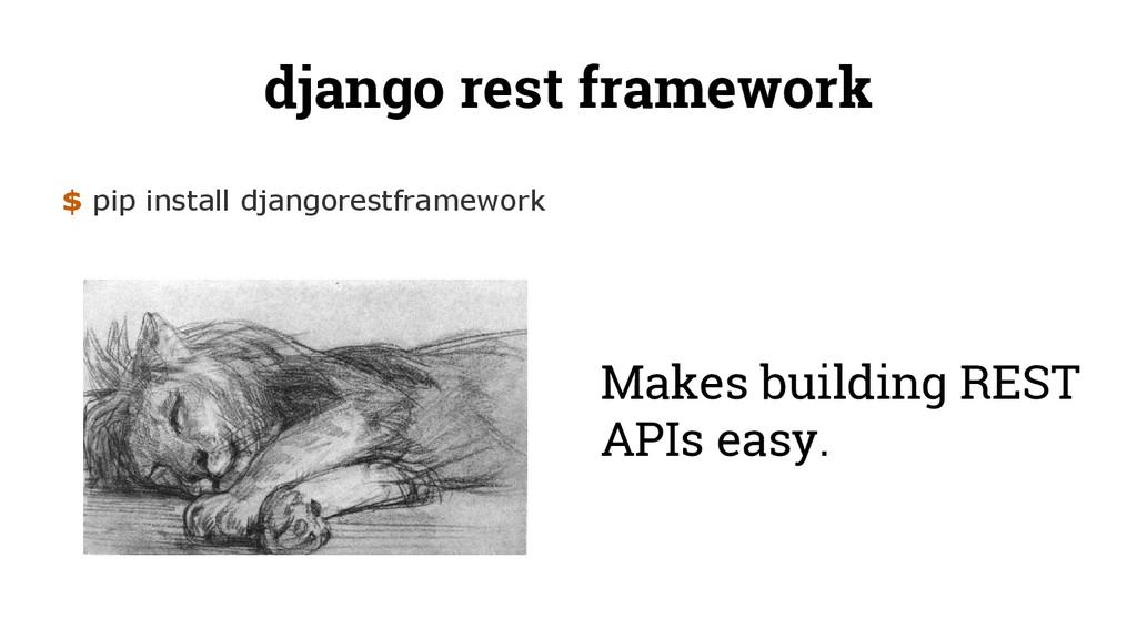 django rest framework $ pip install djangorestf...