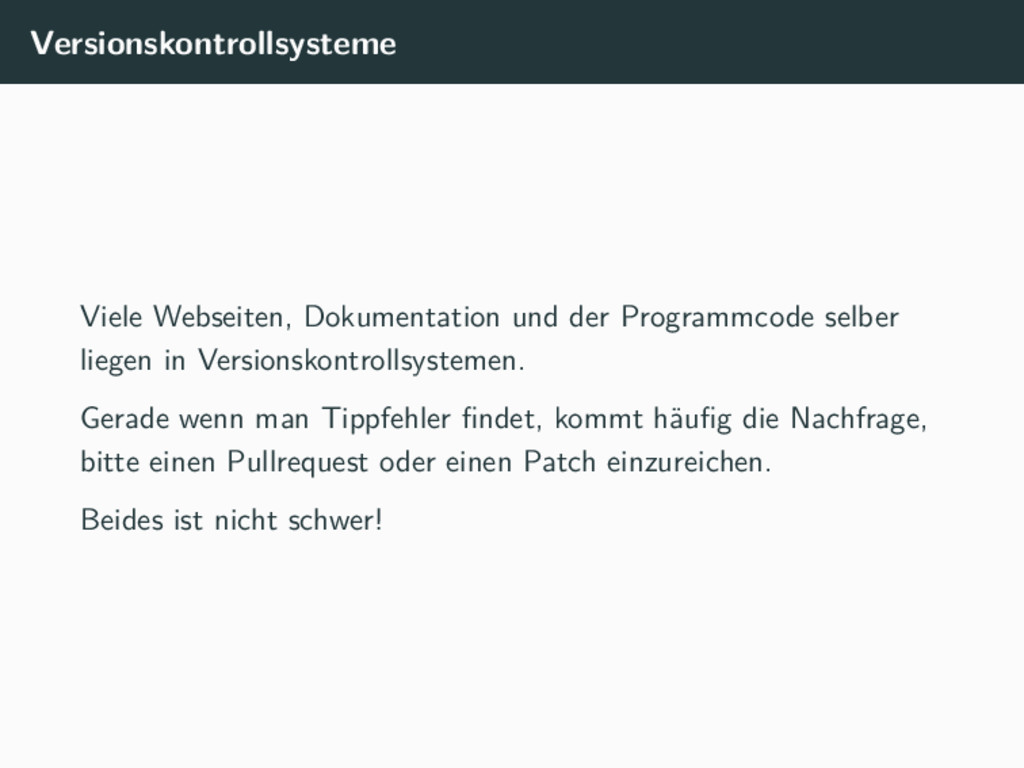 Versionskontrollsysteme Viele Webseiten, Dokume...