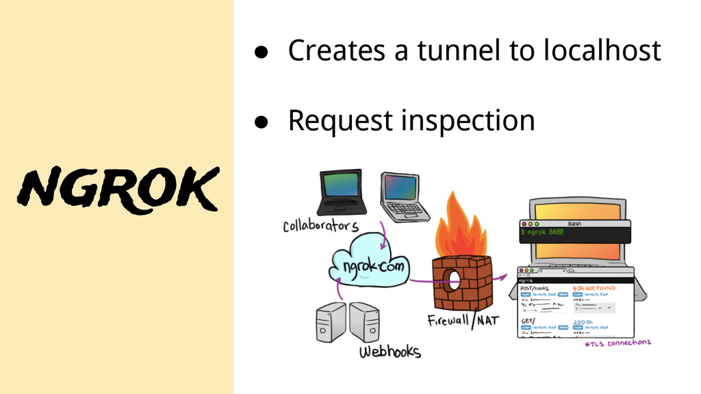 ngrok ● Creates a tunnel to localhost ● Request...