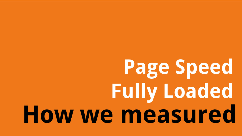 How we measured Page Speed Fully Loaded